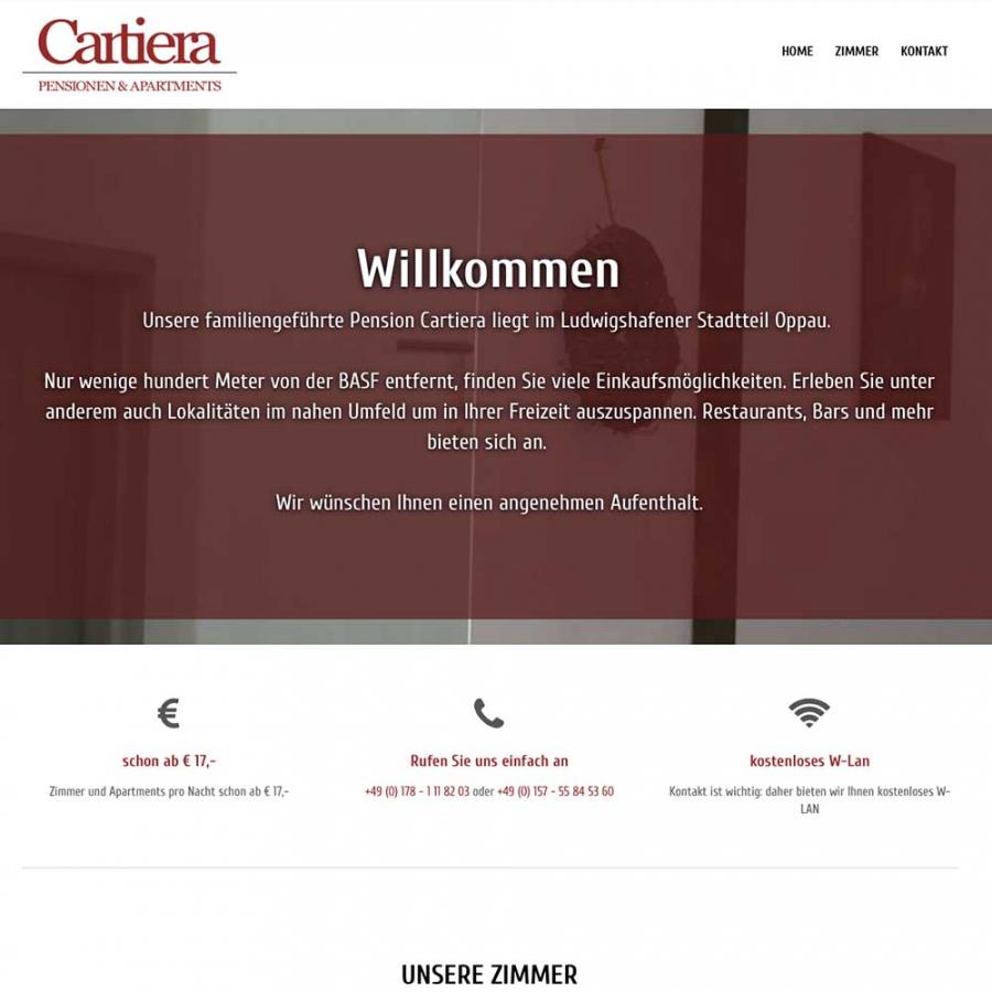 OnePager für Pension Cartiera